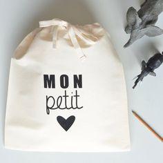 MON PETIT ♥︎ - POCHETTE fabriquée en France et sérigraphiée à la main by Marie la pirate