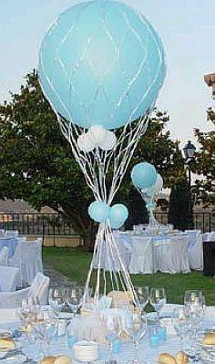 Centros de Mesa para Bautizo de Niño, parte 1 Boy Baby Shower Themes, Baby Boy Shower, Ideas Para Fiestas, Balloons, Air Balloon, Projects To Try, Baptism Ideas, Julia, Creative Ideas