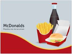 Free McDonalds PowerPoint template was created for fast food demonstrations. McDonald's is one the biggest fast food companies in the world. This PPT presentation features a modern theme with stand… Free Mcdonalds, Creative Powerpoint Templates, Presentation, Bread, Nice, Food, Frases, Breads, Baking
