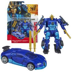"""Hasbro Year 2013 Transformers Movie Series 4 """"Age of Extinction"""" Deluxe Class 5-1/2 Inch Tall Robot Action Figure - AUTOBOT DRIFT with 2 Tanto Blades and 2 Katana Swords (Vehicle Mode: Bugatti)"""
