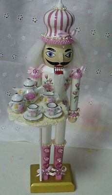 Maiya would freak out!!! She LOVES her nutcrackers!! NUTCRACKER TEA PARTY PINK AND WHITE | eBay
