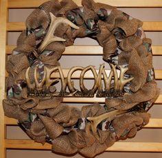 Camoflauge Wreath by AshleyRacheal on Etsy Camo Burlap Wreath, Antler Wreath, Burlap Wreaths, Deer Antlers, Creative Ideas, Future, Christmas, Diy, Crafts