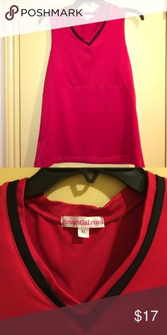 Selling this Red Smashgal Sleeveless Tennis Top w/black trim on Poshmark! My username is: lemongraces. #shopmycloset #poshmark #fashion #shopping #style #forsale #smashgal #Tops