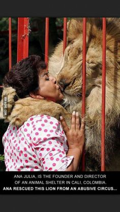 This woman rescued a lion from an abusive circus! Now there is a #dedicatedfriendship
