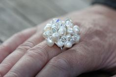 Pearl & Swarovski Cluster Ring. £18.00, via Etsy.