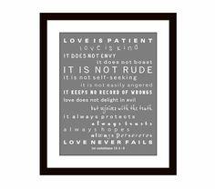 1st Corinthians 13 Love is Patient - Scripture Art - Typography - Marriage Scripture Valentines Day Print