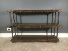 Reclaimed Wood Shelf/Shelving Unit with 3 Shelfs - Industrial gas pipe legs - Scorched Finish - Free Shipping & Life Time Warranty!