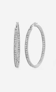 Stainless Steel Simulated Diamond Glimmer Hoop Earrings