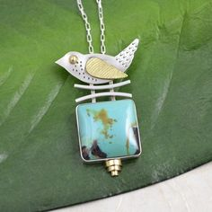 Silver Pendant with Bird and Stone by DeborahCloseDesigns