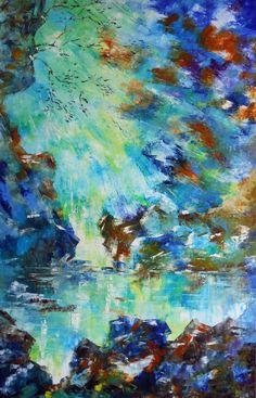 Tableau Cascade de lumière sur les rochers - peintures-axelle-bosler : Peintures par peintures-axelle-bosler