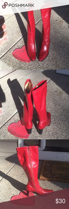 Women's Boots Beautiful Deep Red Franco Sarto Tall Boot, great for Valentines Day. Size 6.5, 2.5 inch heel, small scuff on toe of boot, see photo. Franco Sarto Shoes Heeled Boots