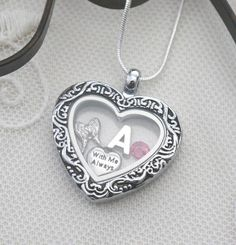 Angel Wing Locket, Personalized Angel Wing Necklace, Memorial Locket, Initial Birthstone, With Me Always Necklace, Heart Locket, Angel Wing