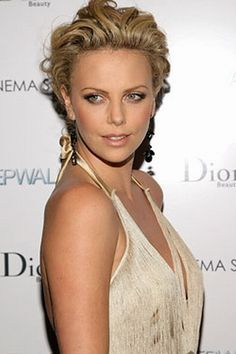 Charlize Theron upstyle short hairstyle