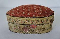 "Wallpaper covered pin cushion box 5 1/2"" 1835 antique"