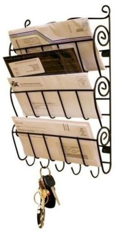 WALL-MOUNT-LETTER-RACK-INTERHOME-5-KEY-HOOKS-LETTER-HOLDER-BRAND-NEW