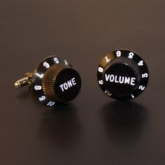 Guitar Knob cuff links that actually turn! I know someone that would *love* these!