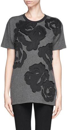Lanvin Floral Stitch TShirt in Gray (Grey,Multi-colour) - Lyst