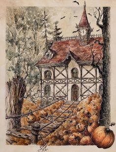 Halloween house can be scarry even in the middle of the day. It's not easy to get there (but there are a lot of sweets ). Be aware of dreadful pumpkins! Medium: pen, felt pen, watercolors, salt. Si...
