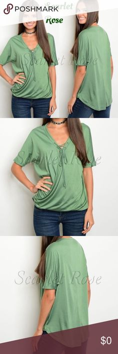 Gorgeous Green Soft Tie Front Top These gorgeous green, soft and stretchy tops are here!  I am so excited about this top.. Aside from the vibrancy of the green color, the fit and quality are amazing. And you can style this so many ways - wear to work with nice pants, with jeans, shorts, skirts, etc. Dress it down or up.. It has endless styling options! I have S,M, and L available. Modeled pics coming this weekend, so stay tuned! This is a must have top! Price is firm unless bundled. Happy…