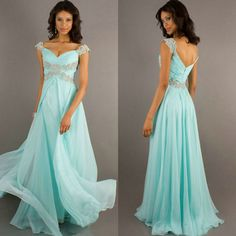 Free Shipping Mint Color Chiffon Sweetheart Cheap Price Cap Sleeve Prom Dress Long Evening Gowns 2014 $99.99