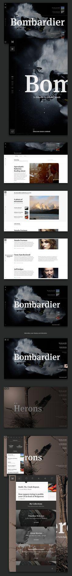 Medium Collection Concept by Leigh Taylor Web Design Mobile, Web Ui Design, Best Web Design, Site Design, Web Layout, Layout Design, Responsive Layout, Apps, Ui Web