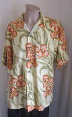 TOMMY BAHAMA Men's Multi-Color 100% Silk Hawaiian Short Sleeve Shirt XL XLarge #TommyBahama #ButtonFront