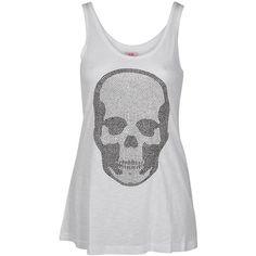 E.VIL Basic Skull Oversize Tank ($57) ❤ liked on Polyvore featuring tops, shirts, t-shirts, tanks, women, vest tops, oversized shirt, oversized tank, black and white shirt and white shirt black vest