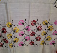 80x23 Cream Indian Tussar Silk Scarf Hand Painted Floral Long Scarf (J14526). $27.99, via Etsy.