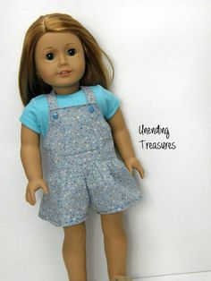 18 inch doll clothes, AG doll clothes, Girl doll clothes, aqua short sleeve t shirt, and grey print shortalls