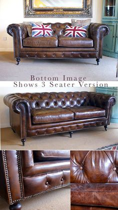 Vintage Leather Sofa Chesterfield 2 Seater
