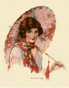Gorgeous Art Deco Girl with Umbrella Print door DragonflyMeadowsArt