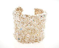 Pearl Audrey Cuff - Gillian Million Bespoke Wedding Accessories Girls Wear, Designer Wedding Dresses, Bridal Accessories, Wedding Colors, Wedding Jewelry, Wedding Hairstyles, Cuff Bracelets, Handmade Jewelry, Bespoke