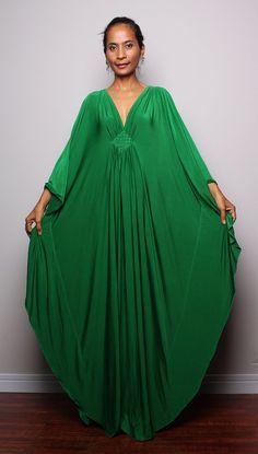 Green maxi dress kaftan kimono butterfly dress by nuichan