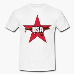 """The logo of the terrorist group Roten Armee Faktion (also known as Baader-Meinhof group) with the word """"USA"""" instead of """"RAF"""".  https://shop.spreadshirt.fi/revolt-noir/""""usa""""-A106381487?appearance=1"""