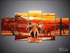Wholesale Painting Canvas - Buy Canvas Art Set Hand Painted Oil Painting African Gold Sunset Elephant Popular Style Can Mix Order, $88.59 | ...