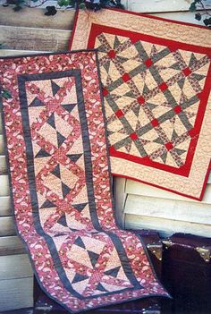 """Primitive Folk art Quilt Pattern - Whirli-gig by Bits and Pieces by Joan - 25.5"""" Wallhanging 15.5 x 47.5 runner"""