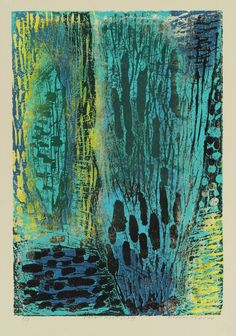 František Hodonský, water plants, woodcut, 2000 - I really like this, love the way the colours work. S