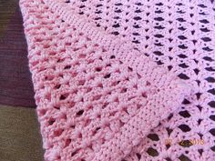 Blanket Crochet This pattern is so simple and works up quickly with neat edges even without the border! It's light weight too, so perfect for a pram blanket and it's also lacy so would be fantastic made larger in white for a christening! Crochet Blanket Edging, Crochet Baby Blanket Beginner, Crochet Baby Blanket Free Pattern, Easy Baby Blanket, Easy Crochet, Crochet Stitches, Free Crochet, Knit Crochet, Crochet Patterns