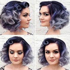 Hair color ideas for short hair Hair color ideas for short hair … Cute Hairstyles For Short Hair, Retro Hairstyles, Bob Hairstyles, Curly Hair Styles, Trendy Hair, Short Haircuts, Everyday Hairstyles, Purple Hair, Ombre Hair