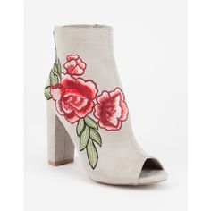 Wild Diva Rose Embroidered Peep Toe Heeled Booties (110 BRL) ❤ liked on Polyvore featuring shoes, boots, ankle booties, zapatos, suede ankle booties, peep-toe booties, high heel boots, peep toe boots and high heel ankle booties