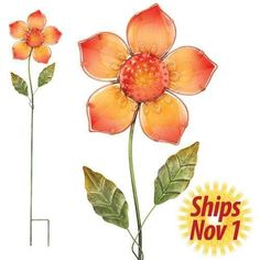 Garden Stake Glass Flower Stake - Orange 42in - Regal Art #10345 by Regal. $21.98. Mix And Match Items In Same Or Different Themes.. Use Of Richly Colored  Paint Creates Quality, Durable Finish. Special Painting Techniques Creates A 'Patina' Effect. Extensive Handcrafting Is Put Into Each Piece. This Garden Stake Glass Flower Stake - Orange 42in - Regal Art #10346 is a fun, unique and whimsical decorative stake for your garden and patio. Scatter these quality stakes, with r...