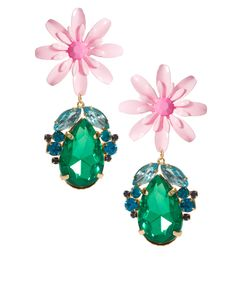 Flower & Jewel Drop Earrings  #pink #flower #green #earrings