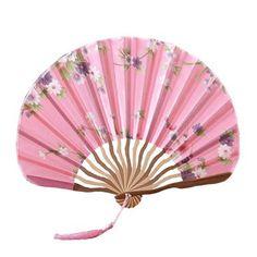 Chinese Style Blooming Flowers Design Silk Folding Fan Bamboo Fan Pink