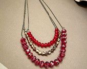 Valentine's Day Crystal Necklace Glass Necklace Chains Red Necklace Formal Necklace
