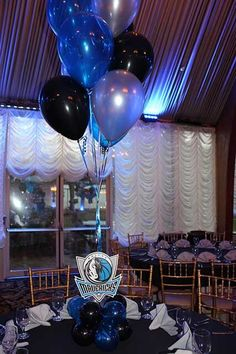 Basketball Balloon Centerpiece Blue, Black & Silver Balloon Centerpiece with Balloon Base and Logo Cutouts Blue Birthday Parties, Hubby Birthday, 21st Party, 21st Birthday, Balloon Centerpieces, Balloon Decorations, Balloon Inside Balloon, Silver Party Decorations, Reception Decorations