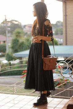 brown thrifted bag - black thrifted boots - black thrifted skirt
