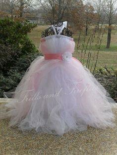 Beautiful White and Pale Pink Tutu Dress by FrillsandFireflies, $65.00