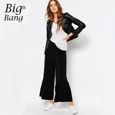 Buy Noisy May Tall Wide Leg Soft Jersey Pant at ASOS. With free delivery and return options (Ts&Cs apply), online shopping has never been so easy. Get the latest trends with ASOS now. Ankle Pants Outfit, Ankle Length Pants, Women's Pants, Sweat Pants, Indie Fashion, Latest Fashion Clothes, Fashion Pants, Women's Fashion, Wide Leg Trousers