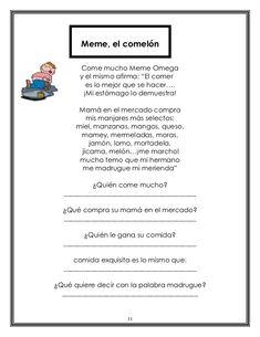 """Meme, el comelón       Come mucho Meme Omega       y el mismo afirma: """"El comer         es lo mejor que se hacer….        ... Teaching Spanish, Homework, Education, Words, Pumas, Homeschooling, David, Comprehension Strategies, Reading Projects"""