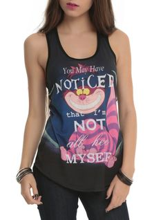 Racer back tank top from Alice in Wonderland with sublimation print design on front.